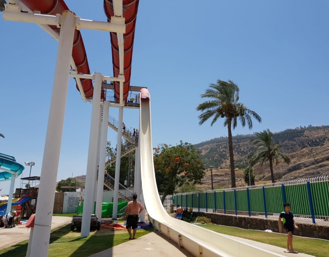 water slide ground view